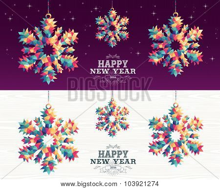 Happy New Year 2016 Snowflake Triangle Hipster