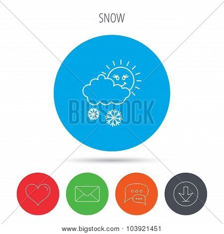 Snow with sun icon. Snowflakes and cloud sign.