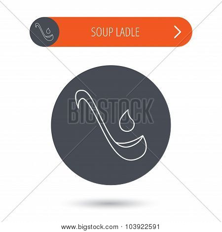 Soup ladle icon. Kitchen spoon sign.