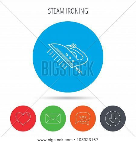 Steam ironing icon. Iron housework tool sign.