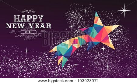 Happy New Year 2016 Star Triangle Hipster Color