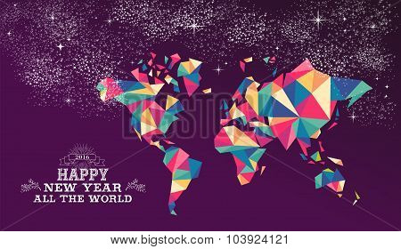 Happy New Year 2016 World Triangle Hipster Color