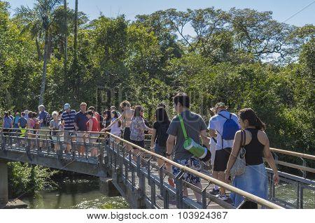 People Crossing A Bridge At Iguazu Park In Argentina