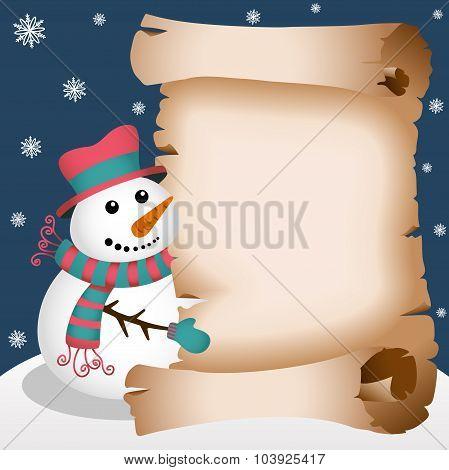 Snowman holding parchment background