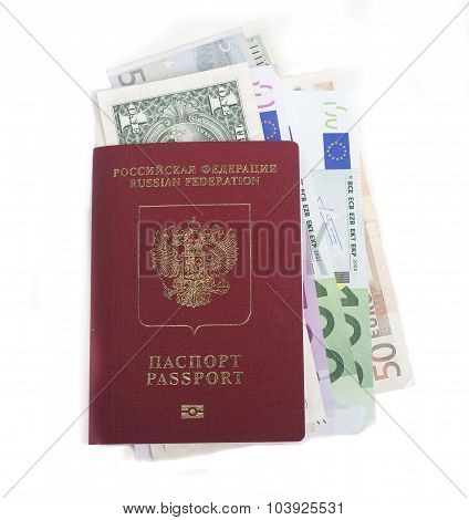 passport with lot of currency cash dollars, euro, ready to travel