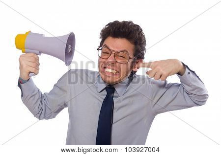 Young employee with loudspeaker isolated on white
