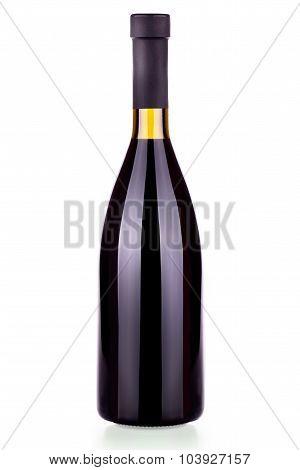 Elegant bottle of red wine isolated