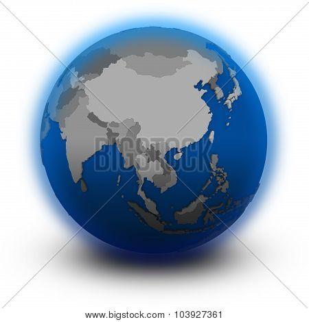 Southeast Asia On Political Globe