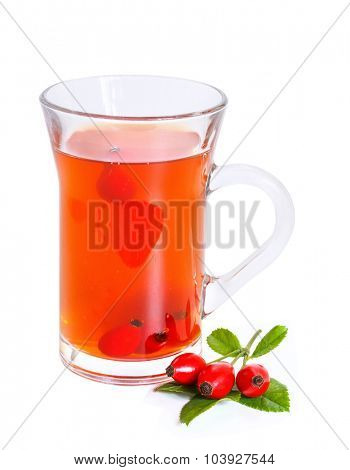 rose hip tea with fresh berries  isolated on a white background