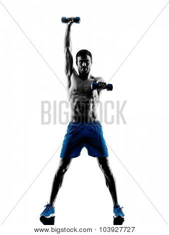 one caucasian man exercising fitness weights exercises in studio silhouette isolated on white background