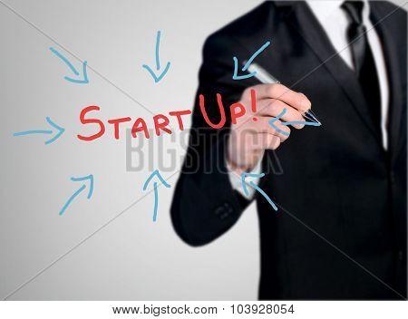 Business man close-up write Start Up word