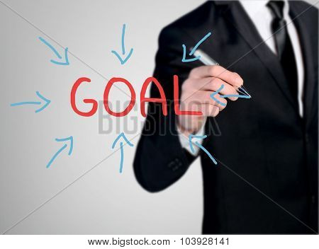 Business man close-up write Goal