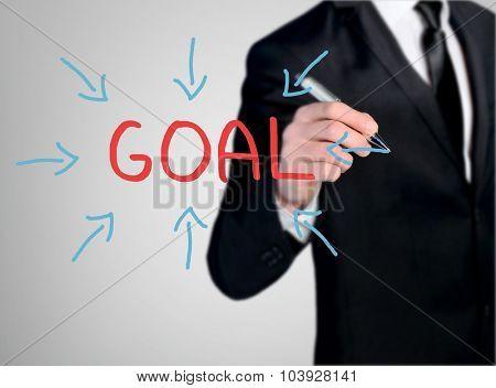 Business man close-up write Goal