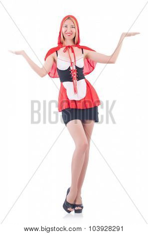 Girl in riding red hood costume isolated on white