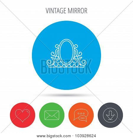 Vintage mirror icon. Retro decoration sign.