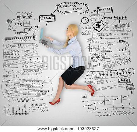 Woman using computer and business plan on wall