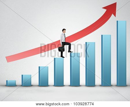 Business man climb blue bar stairs