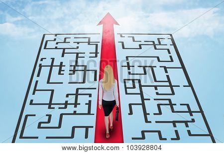 Sky road arrow and business woman walk