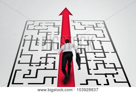 Maze and business man run to exit