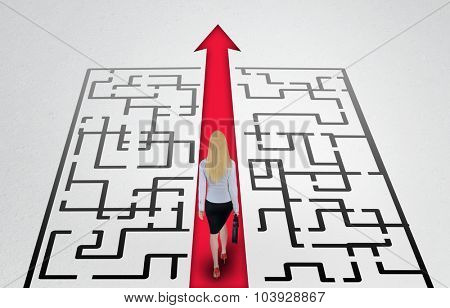 Maze and business woman walk to exit