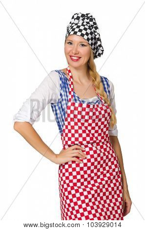 Woman cook isolated on the white background