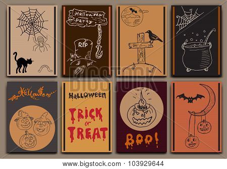 Halloween Cards Baners Design Vector Set With Hand Drawn Sketch Elements Pumpkin, Bats, Spiders With