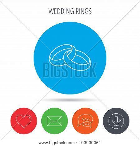 Wedding rings icon. Bride and groom jewelery.