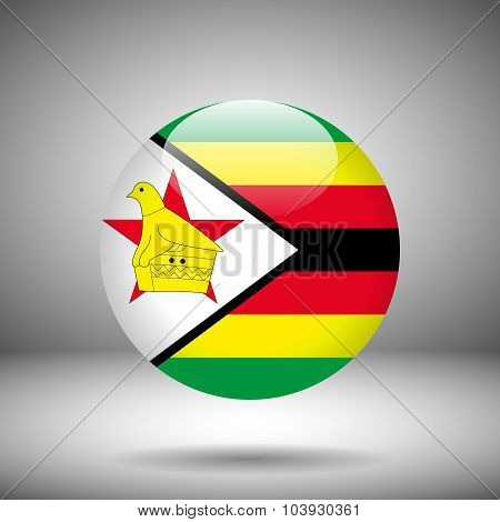 Round Flag Of Zimbabwe