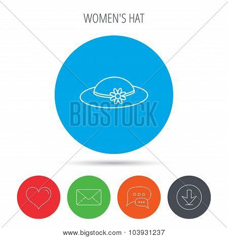 Female hat with flower icon. Women headdress.