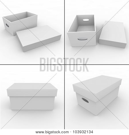 Collection. White Empty Box For Storing Things And Objects