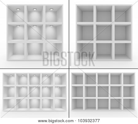 Collection. Empty White Shelves With Lighting
