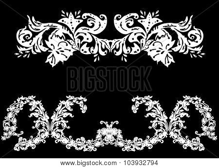 illustration with two white stripe decorations on black background