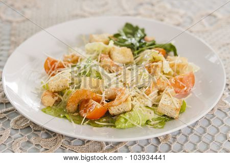 Shrimp Salad With Croutons.