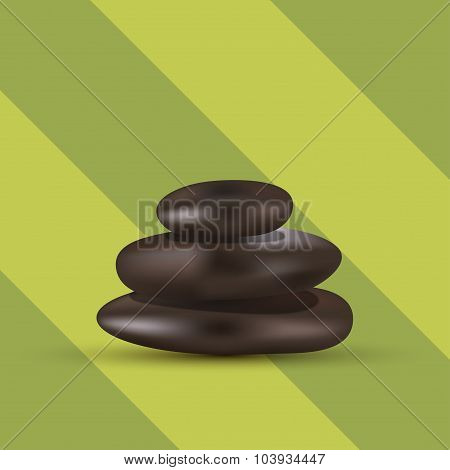 Vector modern 3 spa stones on green background