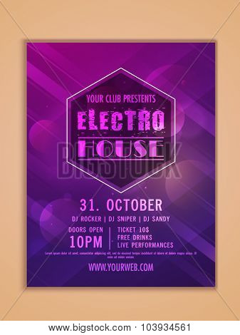 Electro Night Party celebration, one page Flyer, Banner or Template design.