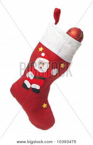 Santa's White And Red Stocking