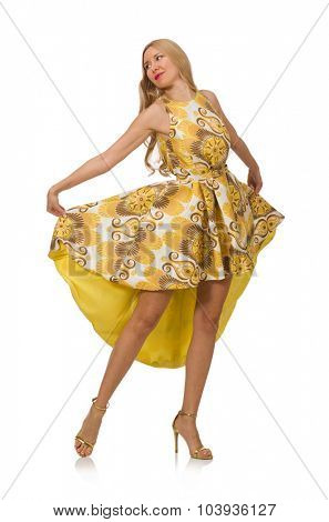 Young woman in long floral dress isolated on white