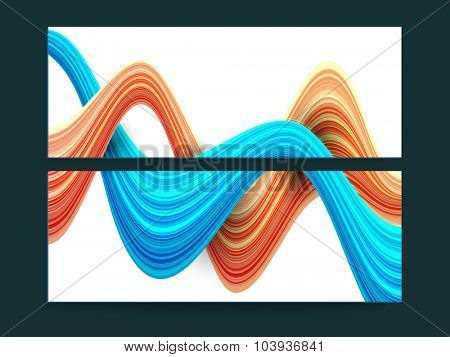 Colorful creative abstract waves website header or banner set.