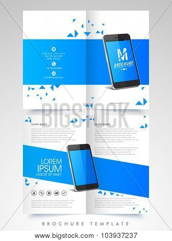 Creative Business Brochure, Template or Flyer design with smartphone and front and back side presentation.