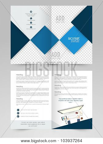 Creative abstract design decorated professional Two page Business Brochure, Flyer, Banner or Template with illustration of a human working on digital device.
