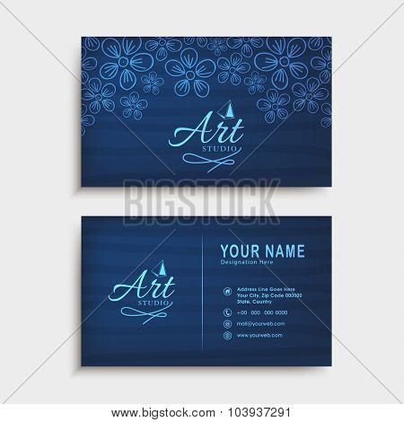 Beautiful horizontal business card, visiting card or name card set with floral design in glossy blue colors.