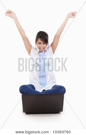 Excited Young Female With Laptop