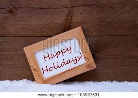 Christmas Card With Picture Frame, Happy Holidays, Snow