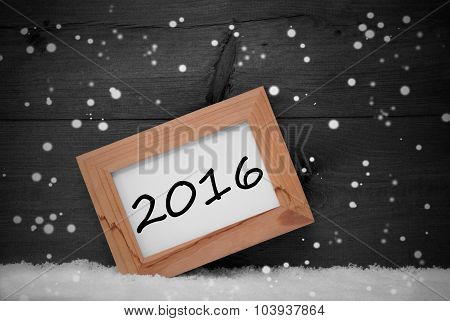 Picture Frame, Gray Background, 2016, Snow, Snowflakes