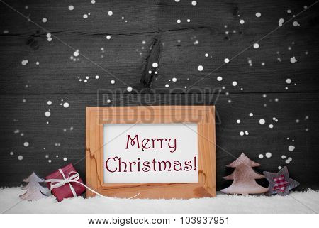 Gray Frame With Merry Christmas, Snow And Snowflakes