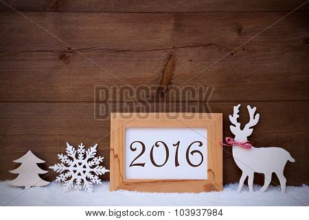 White Decoration On Snow, Text 2016 For Happy New Year