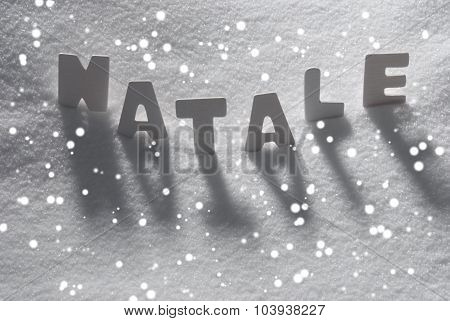 White Word Natale Mean Christmas On Snow, Snowflakes