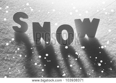 White Word Snow With Snowflakes