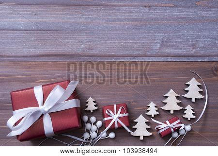 Red Christmas Gifts, Presents, White Ribbon, Tree, Copy Space