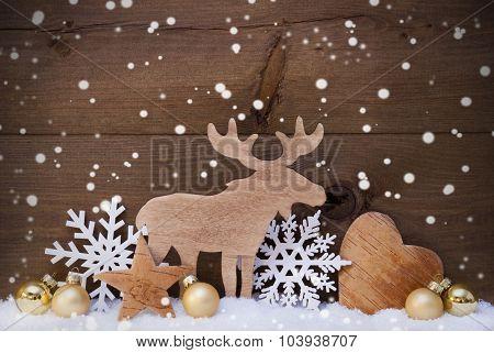 Golden Christmas Decoration, Snow, Moose, Hear, Snowflakes
